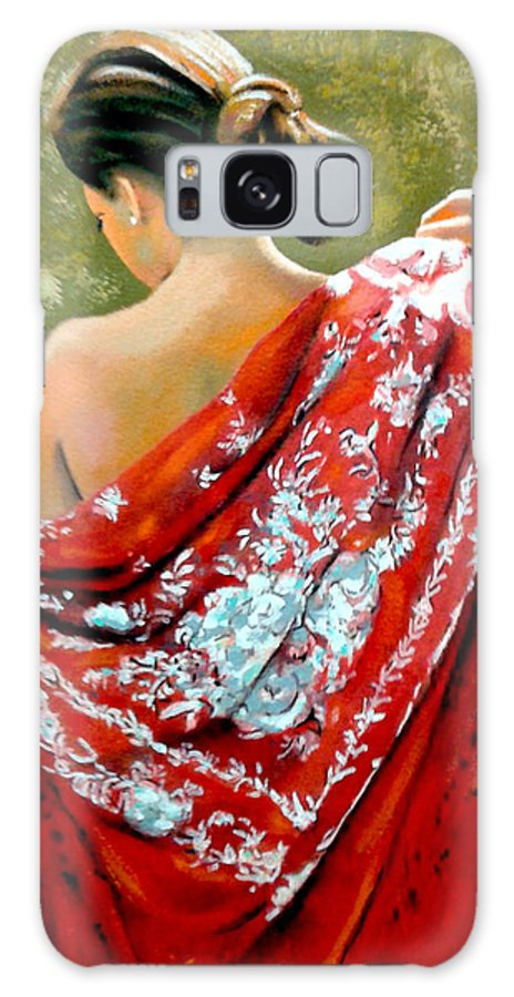 Red Galaxy S8 Case featuring the painting aly by Jose Manuel Abraham