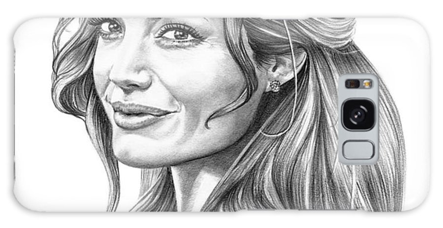 Drawing Galaxy S8 Case featuring the drawing Angelina Jolie by Murphy Elliott