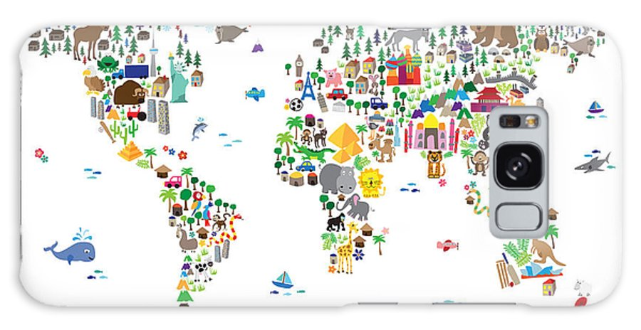 Map Of The World Galaxy S8 Case featuring the digital art Animal Map Of The World For Children And Kids by Michael Tompsett