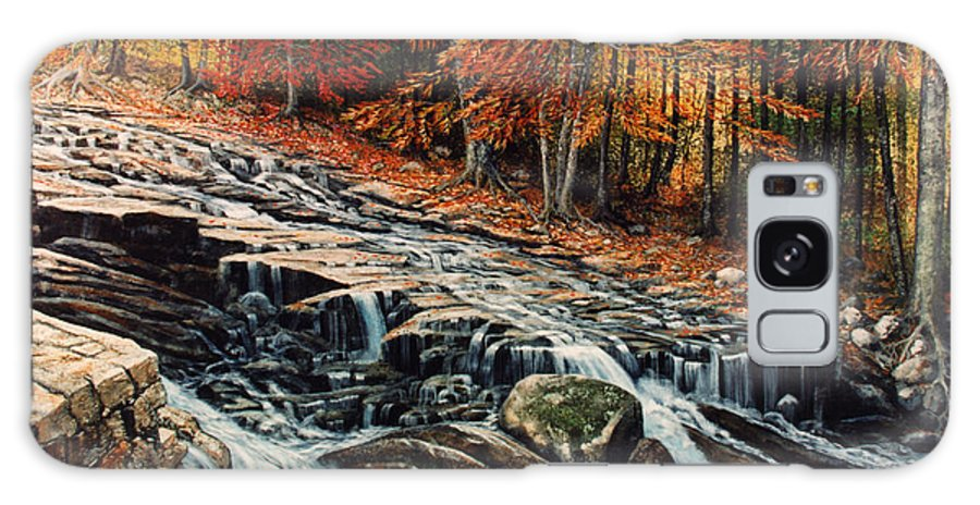 Landscape Galaxy S8 Case featuring the painting Autumn Cascade by Frank Wilson