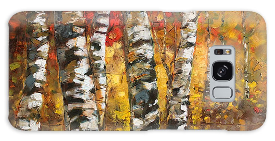 Landscape Galaxy S8 Case featuring the painting Birch Trees In Golden Fall by Ylli Haruni