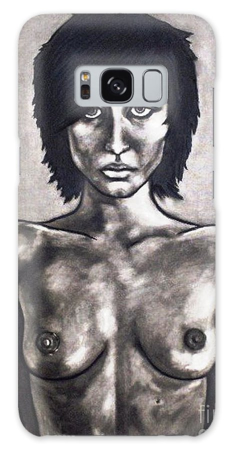 Nude Galaxy S8 Case featuring the painting Black by Thomas Valentine