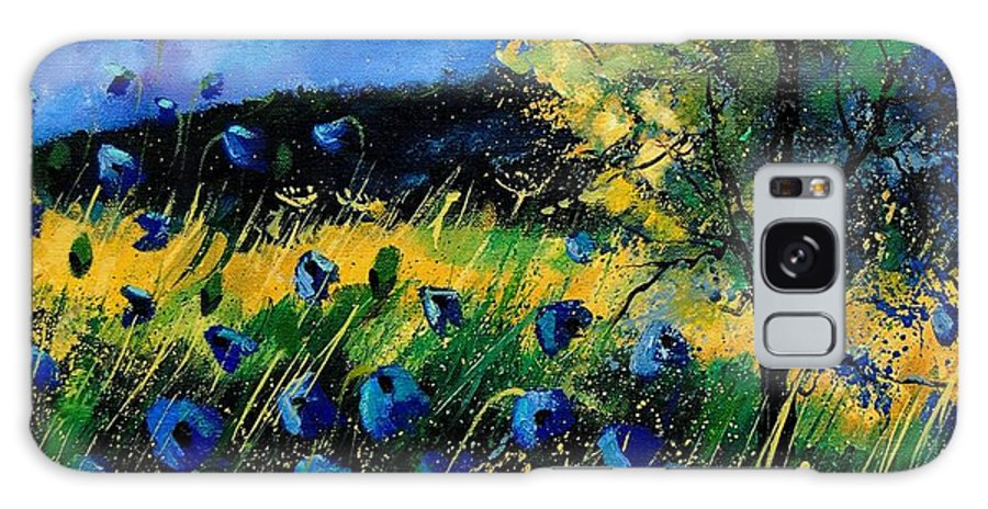 Poppies Galaxy Case featuring the painting Blue Poppies by Pol Ledent