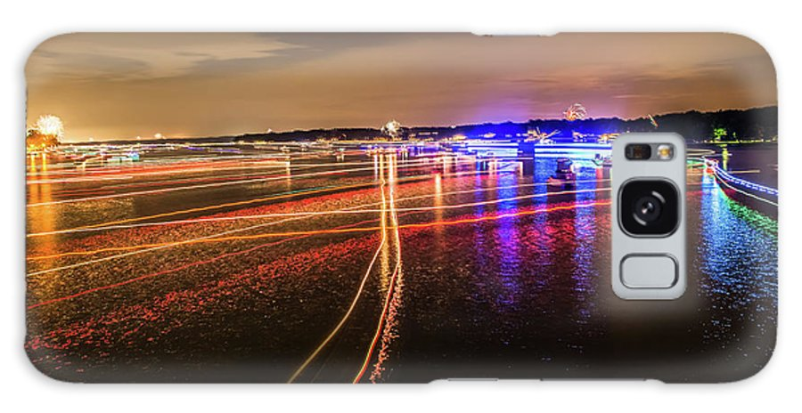 Sun Galaxy S8 Case featuring the photograph Boats Light Trails On Lake Wylie After 4th Of July Fireworks by Alex Grichenko