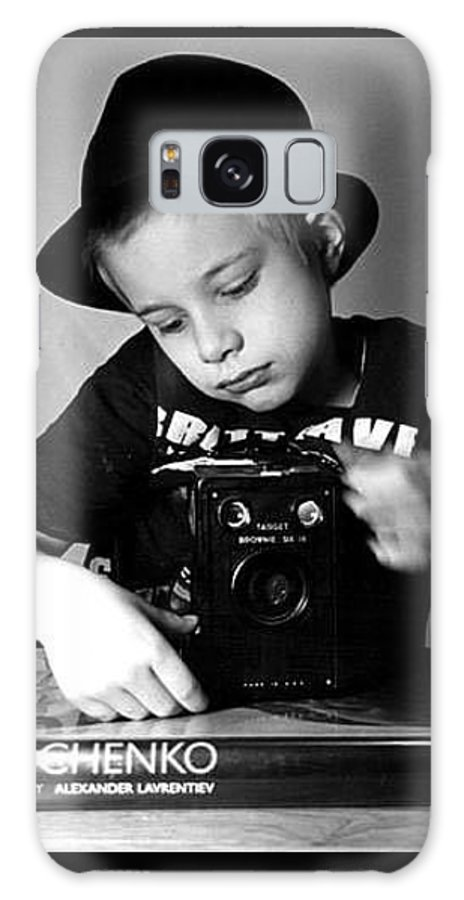 Boy Galaxy S8 Case featuring the photograph Boy In Hat With Old Camera. by Mitchell Ozog