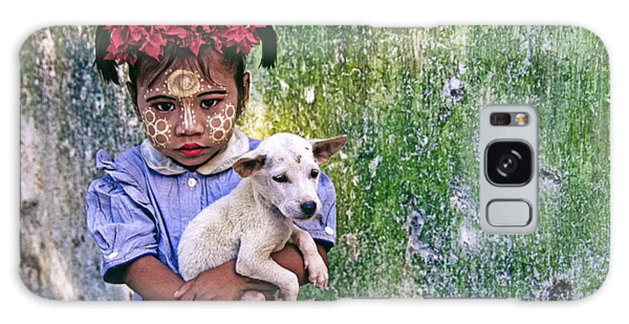 Myanmar Galaxy S8 Case featuring the photograph Burmese Girl With Puppy by Michele Burgess