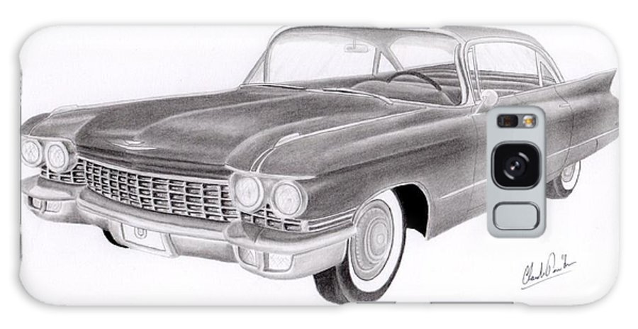 Car Art Galaxy Case featuring the drawing Cadillac 3 by Claude Prud' homme