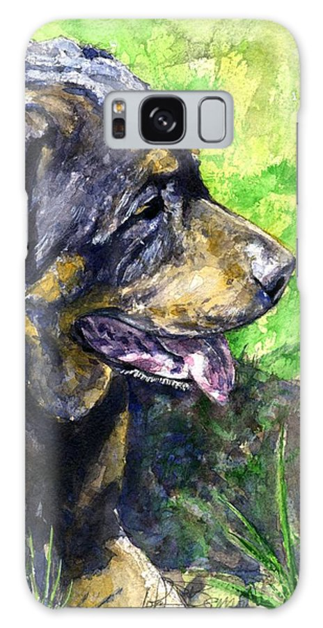 Rottweiler Galaxy S8 Case featuring the painting Chaos by John D Benson