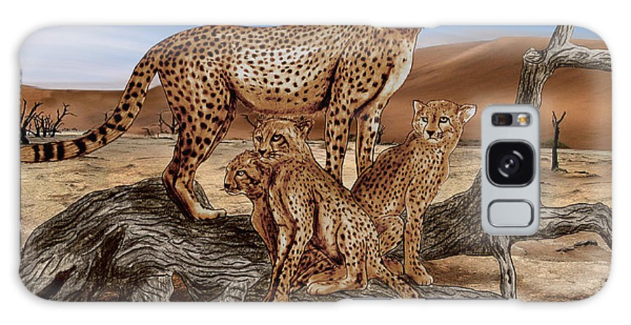 Cheetah Family Tree Galaxy S8 Case featuring the drawing Cheetah Family Tree by Peter Piatt