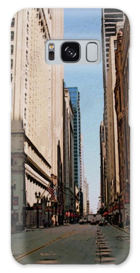 Chicago Galaxy S8 Case featuring the digital art Chicago Street With Flags by Anita Burgermeister