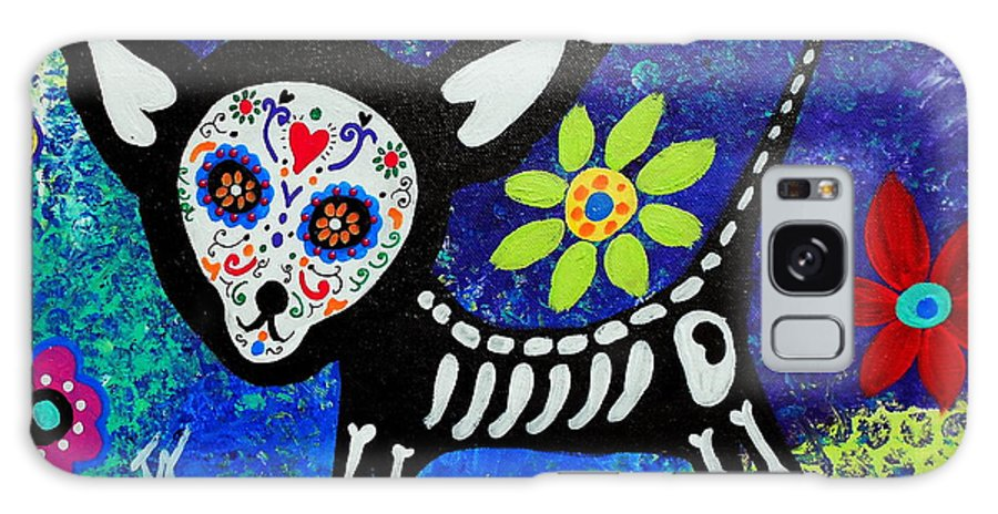 Day Of The Dead Galaxy S8 Case featuring the painting Chihuahua Day Of The Dead by Pristine Cartera Turkus