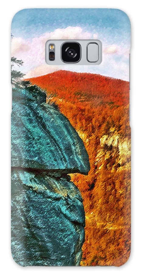 Landscape Galaxy S8 Case featuring the painting Chimney Rock by Steve Karol