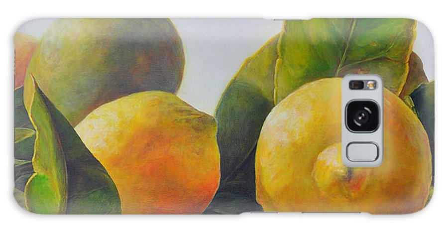 Acrylic Painting Galaxy Case featuring the painting Citrons by Muriel Dolemieux