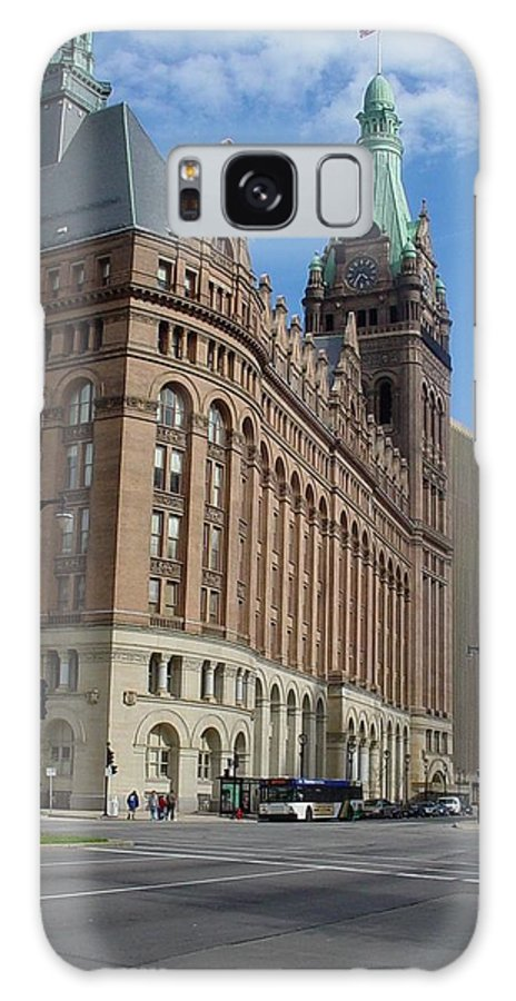 Milwaukee Galaxy Case featuring the photograph City Hall And Lamp Post by Anita Burgermeister