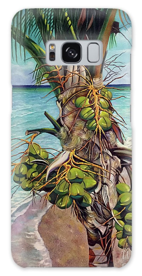 Coconuts Galaxy Case featuring the painting Coconuts on beach by Jose Manuel Abraham