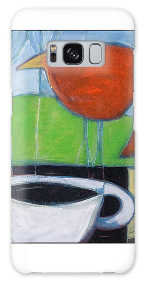 Bird Galaxy Case featuring the painting Coffee With Red Bird by Tim Nyberg