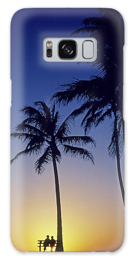 Beach Galaxy S8 Case featuring the photograph Couple And Sunset Palms by Carl Shaneff - Printscapes