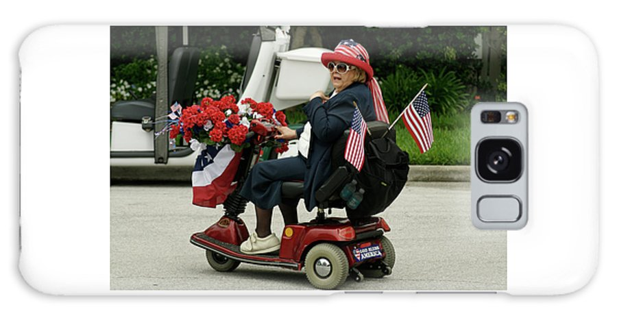 Woman Galaxy S8 Case featuring the photograph Patriotic Lady On A Scooter by Carl Purcell