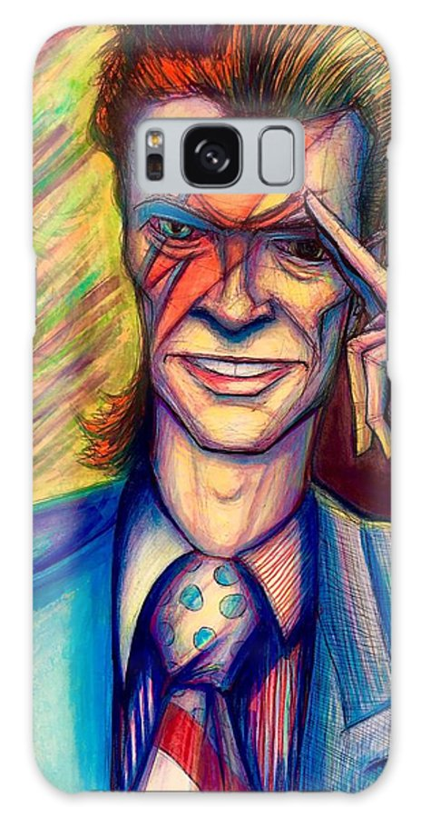 Galaxy S8 Case featuring the mixed media David Bowie by David Weinholtz