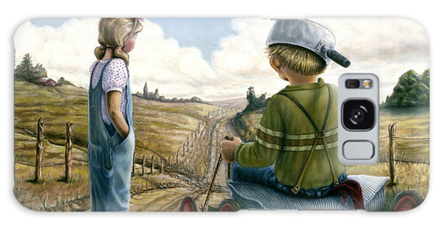 Children Playing Galaxy Case featuring the painting Down Hill Racer by Lance Anderson
