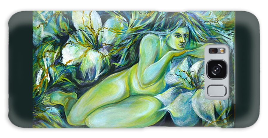 Fantasy Art Galaxy Case featuring the painting Dreaming Flower by Anna Duyunova