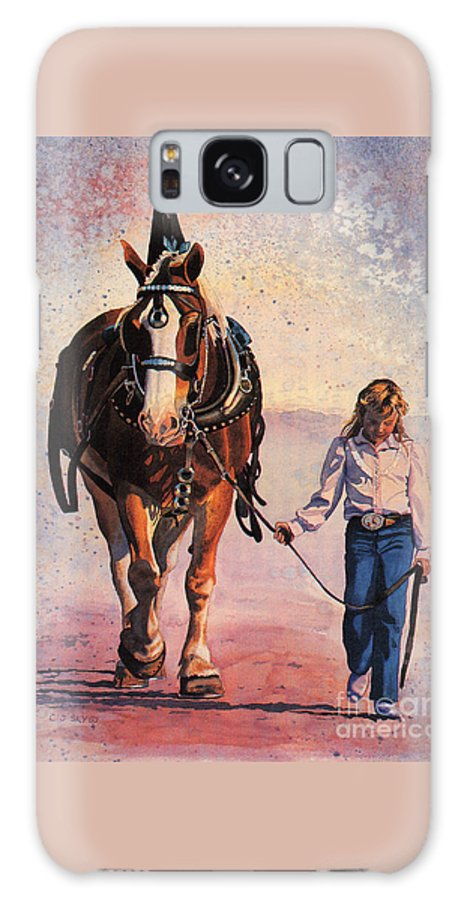 Horse And Girl Portrait Galaxy S8 Case featuring the painting Dreams by Cathy Sky