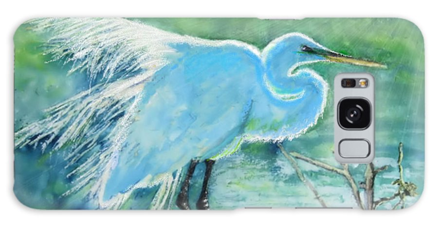 Egret Galaxy S8 Case featuring the painting Egret In The Summer Breeze by Dawn Johansen