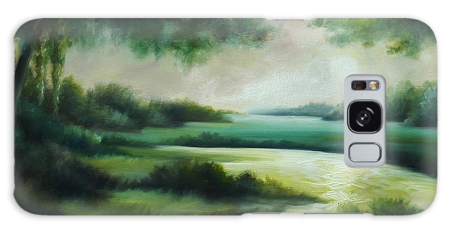 Bright Clouds; Sunsets; Reflections; Ocean; Water; Purple; Orange; Storms; Lightning; Contemporary; Abstract; Realism; James Christopher Hill; James Hill Studios; James C. Hilll; Forest; Flowers; Trees; Green; River; Water Galaxy Case featuring the painting Emerald Forest by James Christopher Hill