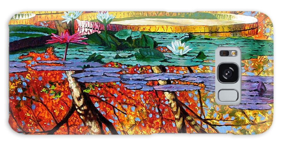 Water Lilies Galaxy S8 Case featuring the painting Fall Reflections by John Lautermilch