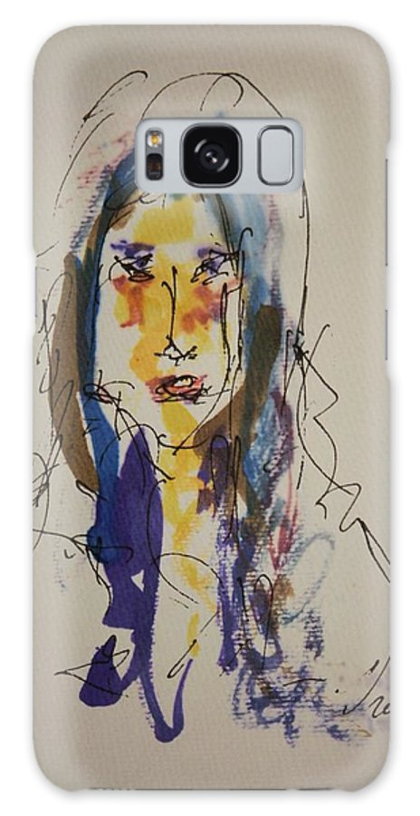 Portrait Galaxy S8 Case featuring the painting Female Face Study B by Edward Wolverton