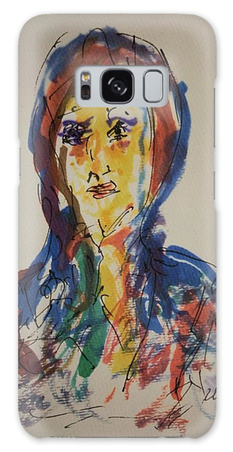 Portrait Galaxy S8 Case featuring the painting Female Face Study D by Edward Wolverton