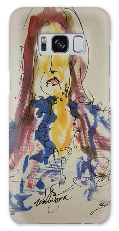 Portrait Galaxy S8 Case featuring the painting Female Face Study E by Edward Wolverton