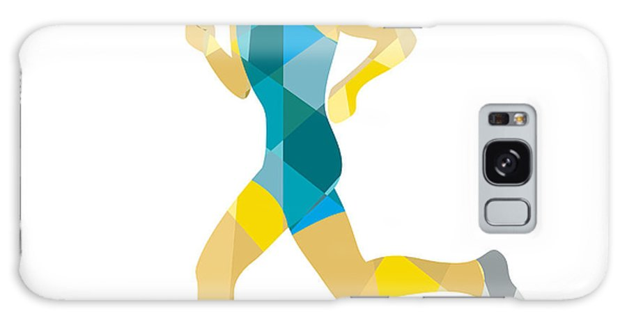 Low Polygon Galaxy S8 Case featuring the digital art Female Triathlete Marathon Runner Low Polygon by Aloysius Patrimonio
