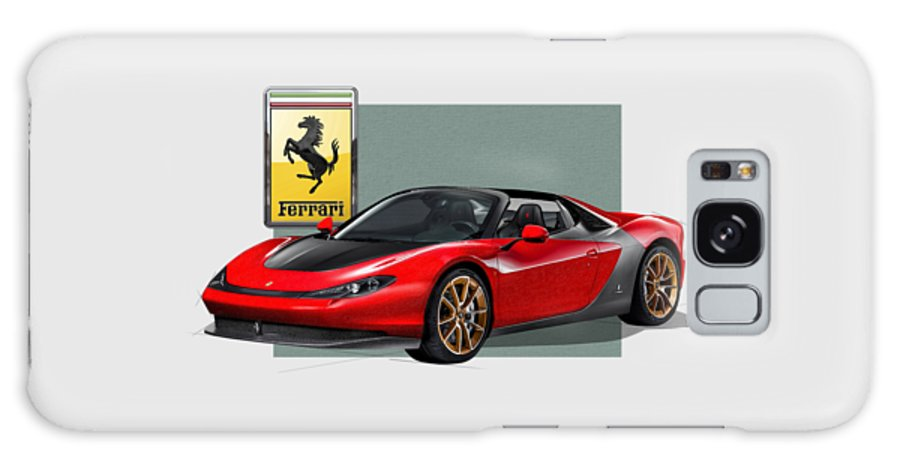 �ferrari� Collection By Serge Averbukh Galaxy Case featuring the photograph Ferrari Sergio with 3D Badge by Serge Averbukh