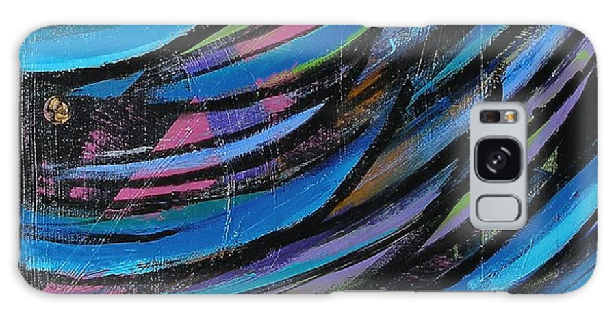 Blue Galaxy Case featuring the painting Fireworks by Maria Bonnier-Perez