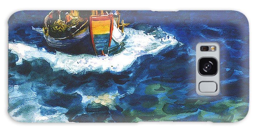 Fishing Galaxy S8 Case featuring the painting Fishing Boat by Guanyu Shi