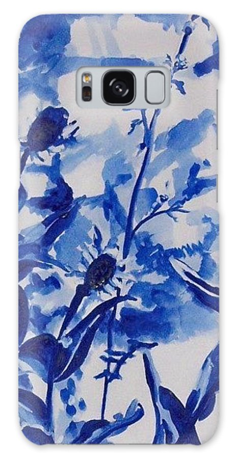 Galaxy S8 Case featuring the painting Flowers In Blue by Liz Adkinson