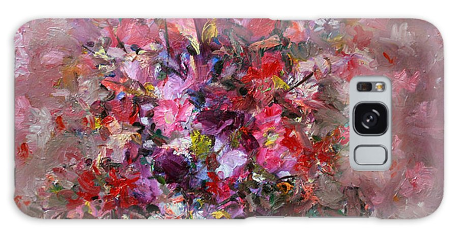 Pink Flowers Galaxy S8 Case featuring the painting Flowers by Mario Zampedroni