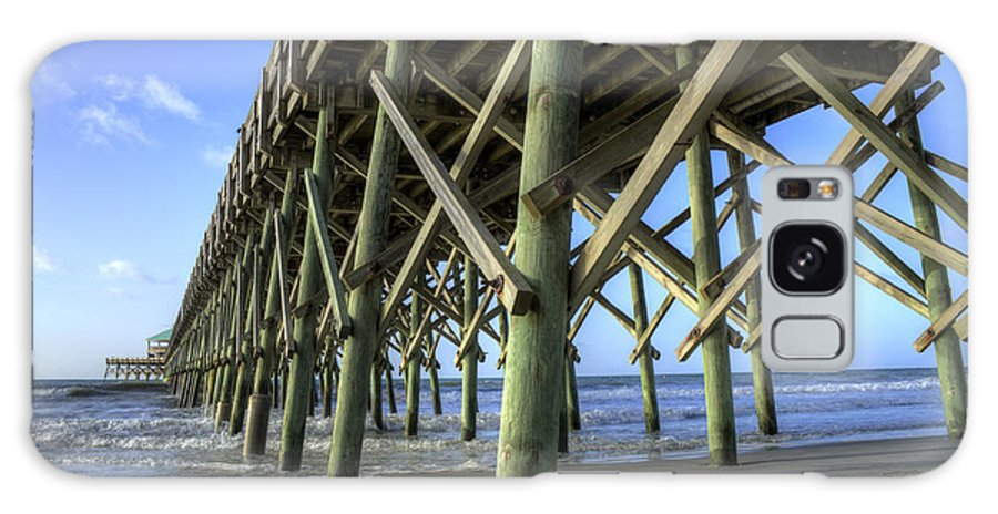 Folly Beach Pier Wood Dock Lowcountry South Carolina Landscape Sunrise Couds Water Beach Night Hdr Galaxy S8 Case featuring the photograph Folly Beach Pier by Dustin K Ryan