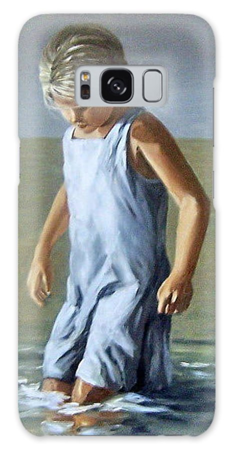 Girl Children Reflection Water Sea Figurative Portrait Galaxy Case featuring the painting Girl by Natalia Tejera