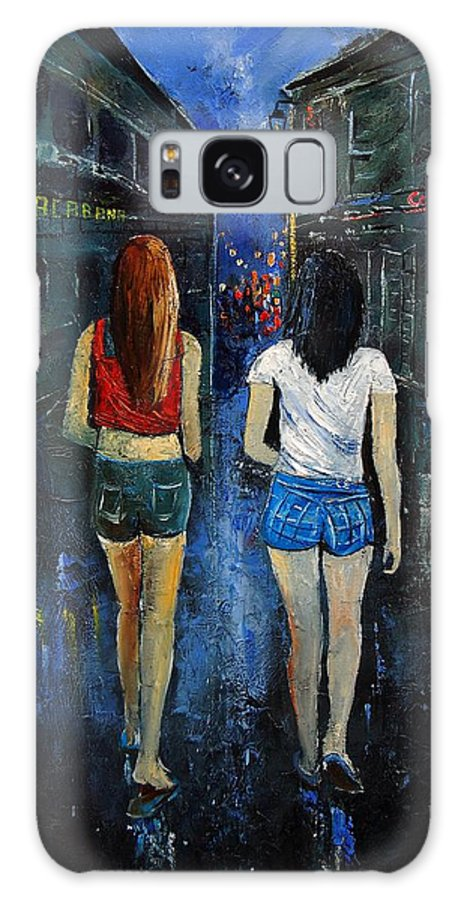 Girl Galaxy S8 Case featuring the painting Going Out Tonight by Pol Ledent