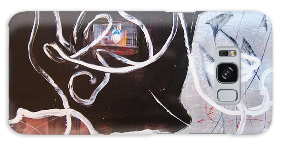 Abstract Paintings Galaxy Case featuring the painting Hand In Hand by Seon-Jeong Kim