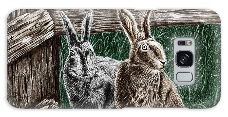 Hare Line Galaxy S8 Case featuring the drawing Hare Line by Peter Piatt