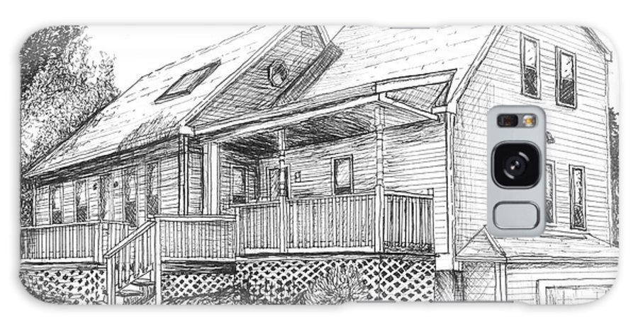 House Galaxy S8 Case featuring the drawing Harvey Lake House by Megan Hoover