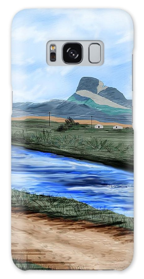 Heart Mountain Galaxy S8 Case featuring the painting Heart Mountain And The Canal by Anne Norskog