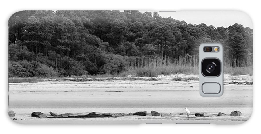 Galaxy S8 Case featuring the photograph Hilton Head Island Shoreline In Black And White by Angela Rath