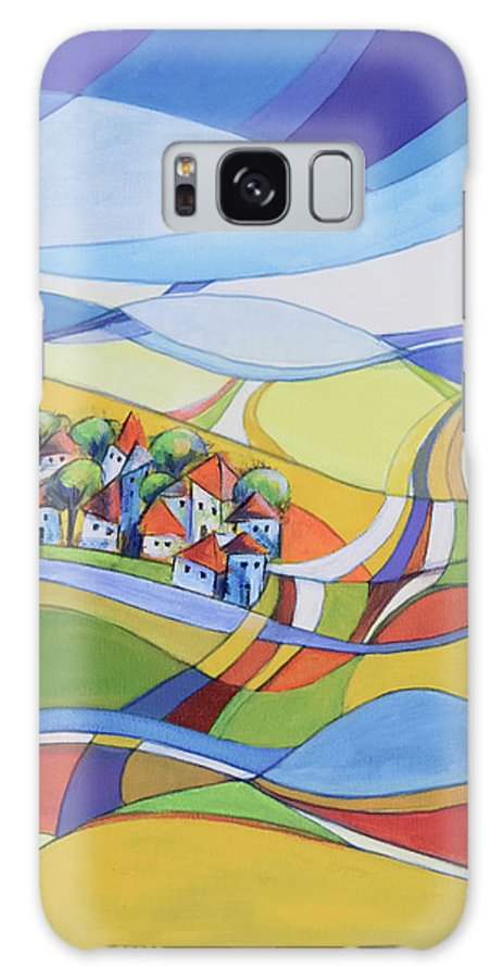 Landscape Galaxy Case featuring the painting Houses along the river by Aniko Hencz