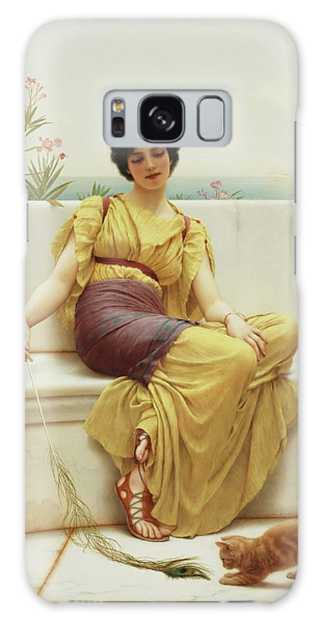 Cat Galaxy S8 Case featuring the painting Idleness by John William Godward