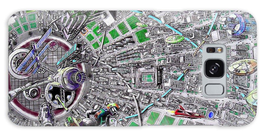 Landscape Galaxy S8 Case featuring the drawing Inside Orbital City by Murphy Elliott