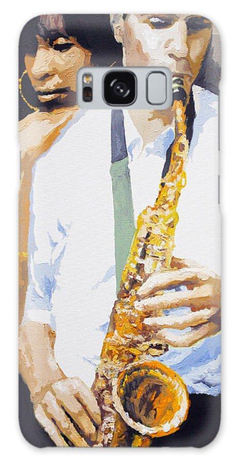 Jazz Galaxy Case featuring the painting Jazz Muza Saxophon by Yuriy Shevchuk